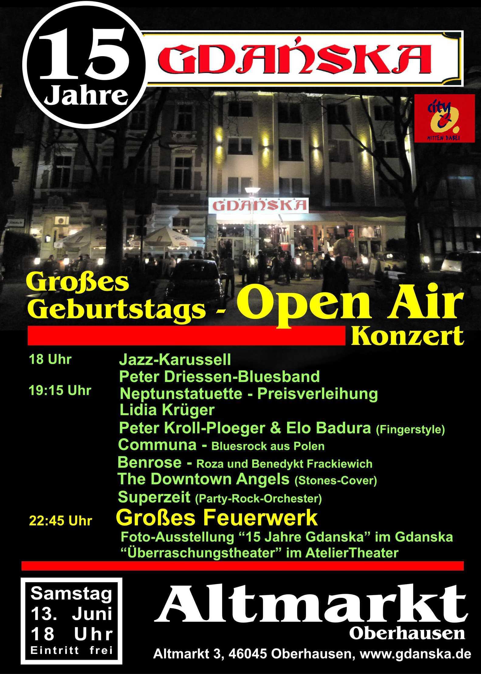 Jubiläum – 15 Jahre GDANSKA – Mit freundlicher Unterstützung von CityO Management!
